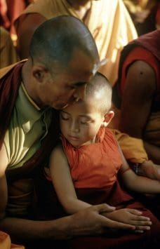 Tibetian Monk and Child, India 1974