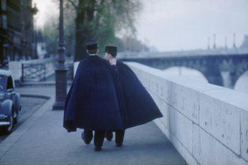 Policemen along Seine, 1955