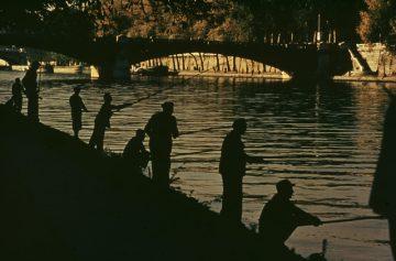 Fishing in the Seine River, Paris 1955